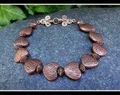Antiqued Copper Heart Bracelet - Renaissance / Victorian Style