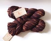 "Bumble Hand-Dyed Yarn in ""Turkish Coffee"" - Superwash merino wool Yarn, brown yarn, bulky yarn, kettle-dyed yarn, semi-solid yarn"
