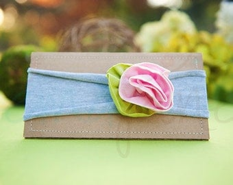 Ema Jane - Shabby Chic Headband (Pink Spring Rose on Light Gray)