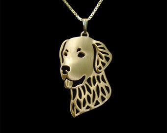 Golden Retriever - gold pendant and necklace.
