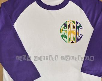 Mardi Gras Women's Raglan Monogrammed Initial T-shirt