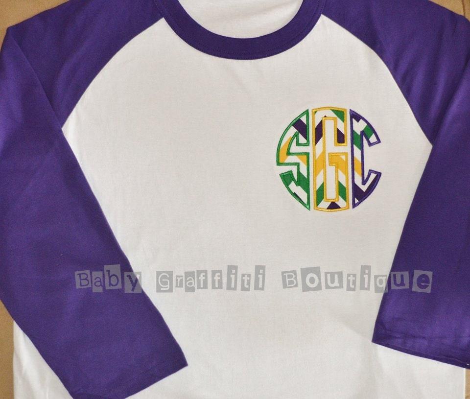Mardi Gras Women 39 S Raglan Monogrammed Initial T Shirt