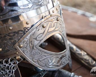 DISCOUNTED PRICE! Men's Combat Helmet; Viking Helmet;  Etched Stainless Steel Helmet;
