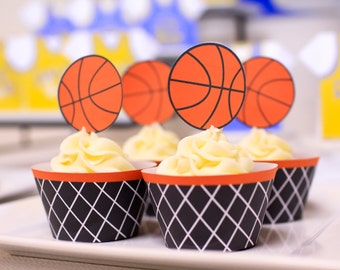 Printable Basketball Cupcake Topper and Cupcake Wrapper- Digital File only INSTANT DOWNLOAD