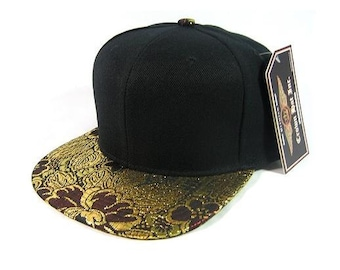 Custom Embroidery Burgundy Gold Floral Flowers Floral Hat Black Snapback
