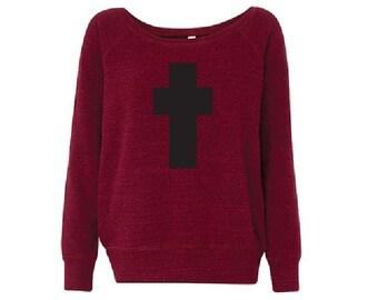 Black and Red Cross - Fleece Slouchy Wideneck Sweatshirt