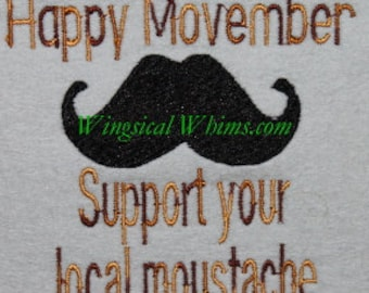 Mustache or Moustache Movember Moustache #4  Digitized Machine Embroidery File ONLY