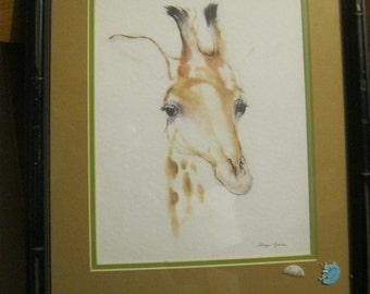 Lovely MEYER GARLEN Vintage Giraffe Painting Signed 12 x 11