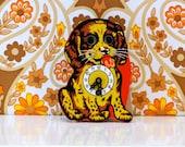 Vintage German Dog Clock Moving Eyes Kitsch Cavalier King Charles Spaniel