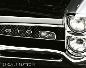 Muscle Car - Pontiac GTO - Fine Art Photo - Man Cave - Classic Car Photo - Americana - Retro - Gift for Guys - B&W- Wall Art - Gto Front End