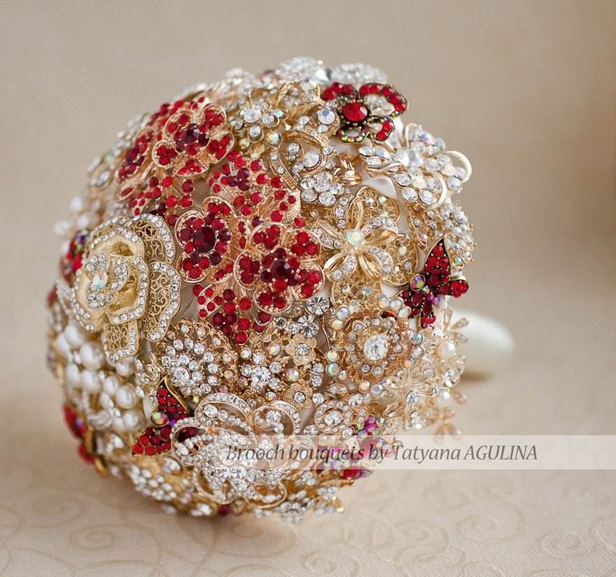 Brooch Bouquet Gold And Red Crystal Bridal