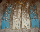 Baby Baptism, Christening, Communion Letter and Rosary Decorated Sugar Cookies - 1 Dozen