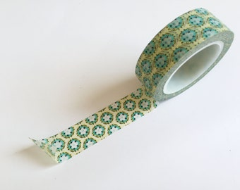 Green and Teal Pattern Washi Tape - 15mm single roll