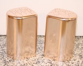 Vintage Anodized Aluminum Salt and Pepper Shakers Art Deco Pink hue