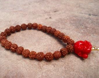 Rudraksha Bracelet, Buddha Bracelet, Mala Beads Bracelet, Yoga Meditation Bracelet, Rudraksha Prayer Beads Bracelet, Religious Jewelry