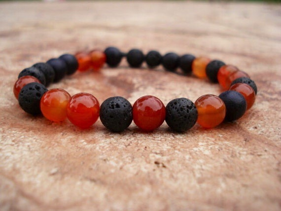 Black Lava Bracelet, Black Wood and Carnelian Bracelet, Stackable Bracelet, Mens Jewelry, Mala Bracelet, Gemstone Bracelet, Stretch Bracelet