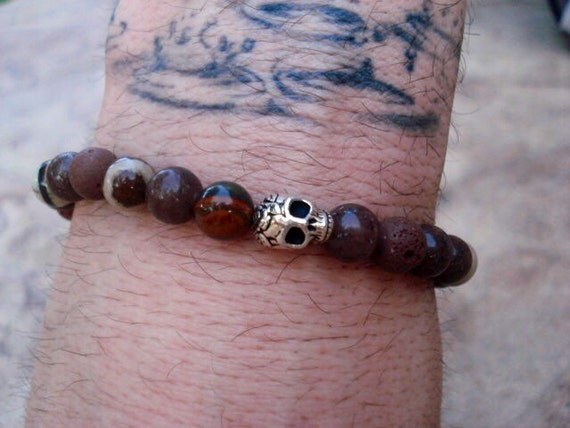 Skull Bracelet, Lava Bracelet, Brown Beaded Bracelet, Skull Jewelry, Goth Jewelry, Goth Bracelet, Bracelets for Men, Bracelets for Women