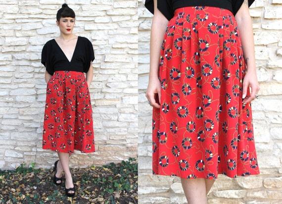 Vintage 90s red NAUTICAL skirt // size 6 LIFE PRESERVER print high waist skirt // elastic waistband skirt with pockets silky knee length