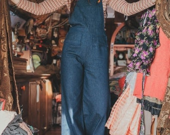 Moon Flower Overalls Handmade Vintage Style Bell Bottom Denim Overalls Custom Made With Cone Denim