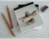 Sloth Notepad Notebook Pocket Sized Mini Jotter Three Toed Sloth Photo Cover I Love You Illustration Handy Tablet