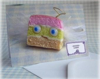 Angel Cake Card Birthday Greetings Notelet Fun Cute Funny Bakery Foodie Food Lover Cards Blank Inside