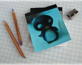 Penguin Pocket Notepad Mini Notebook Small Sized Jotter Photo Cover Illustration Blue Handy Tablet