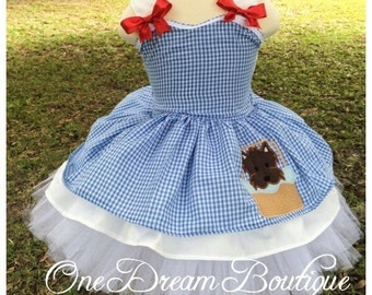 Dorothy inspired wizard of oz over the top outfit with embrpidered toto and petti