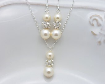 Ivory Pearl and Rhinestone Necklace and Earring Set, Ivory Pearl Bridal Set, Cream Pearl and Rhinestone Set, Sterling Silver Chain 0238