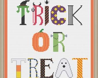 Trick or treat Halloween sampler: cute Halloween cross-stitch pattern