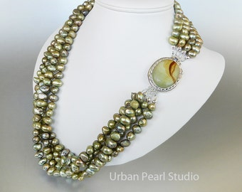 Multi Strand Pearl Necklace, Olive Green Pearl Necklace, Cultured Pearls, Picture Jasper Box Clasp, Pearl Drop Earrings