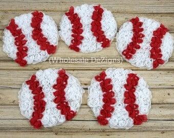 "Baseball Chiffon Rosettes - Red and White baseballs - Sports Ball Applique - 3"""