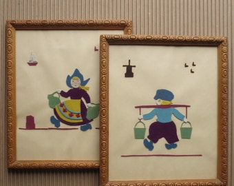 Dutch Boy & Girl Vintage Framed Felt Pieced Pictures Wall Hanging