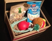 Bark Box Burlap Box of Pet Toys Dog Bones Puppy Treats