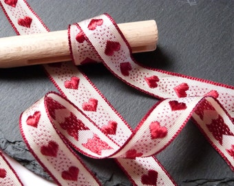 Rustic Red Heart Ribbon 15mm