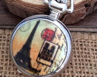 1pcs small  Eiffel Tower  pocket watch charms pendant   25mmx25mm AA02