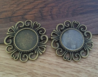 10set 18mm Antique Bronze  Pendant Trays with Glass Cabochons