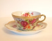 Antique Teacup Set Pink Roses and Gold Porcelain Tea Cup and Saucer Bavarian Wallendar China - Late 1800's Rare Cottage Shabby Chic