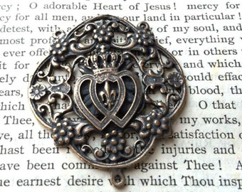 Sacred Heart and Immaculate Heart - Rosary Center - Bronze or Sterling Silver - French - Made in the USA  (R34-1263)
