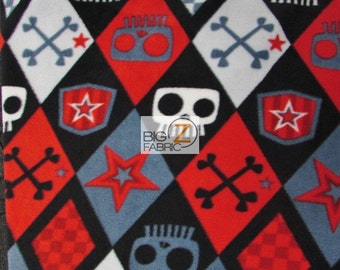 "Black Checkered Skull & Bones By David Textiles Fleece Printed Fabric - Sold By The Yard 60"" Width (782)"