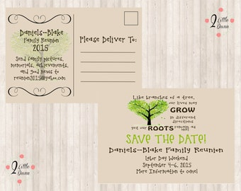 Save The Date Postcard- Family Reunion - PRINTABLE DIGITAL INVITATION