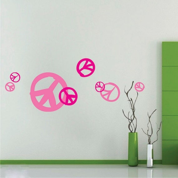 peace sign wall decals hippie wall decals peace wall curved peace sign wall sticker creative multi pack wall