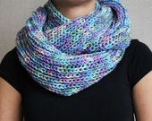 Knitted colorful woman infinity scarf