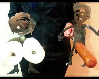 Boy and Girl Hot Dog Roasting Sticks