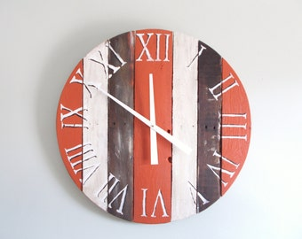 "27"" Rustic Painted Weathered Pallet Clock REDUCED! CLEARANCE!"