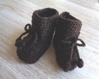 Crochet Baby Boots, Brown Baby Booties, Baby Booties