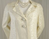 Beautiful Vintage Cream Brocade Bridal Cocktail Easter Coat  with Jeweled Buttons made in the USA