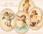 Vintage angel Ovals Printable digital ovals on Digital collage sheet for Jewelry making Scrapbooking Paper goods