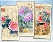 Vintage domino images China flower Digital collage sheet