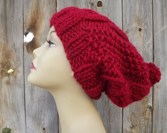 Slouchy Bohemian-Slouchy- Cable Hat with Pompom-Womens-Hand Knit-Red with Sparkle-Wool and Acrylic Blend