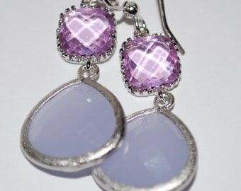 Lavender earrings, clear and opaque lavender glass gem earrings, dangle, drop earrings, bridesmaids gift